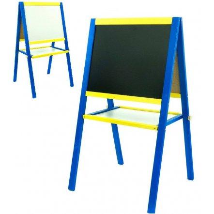 Детский двухсторонний мольберт деревянный сине-желтый