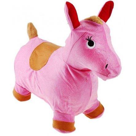 Прыгун плюшевый лошадка розовая в накидке 0325