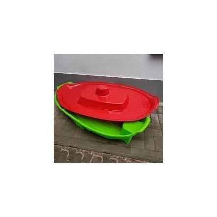 Песочница с крышкой - бассейн Корабль 03355 зелено-красная