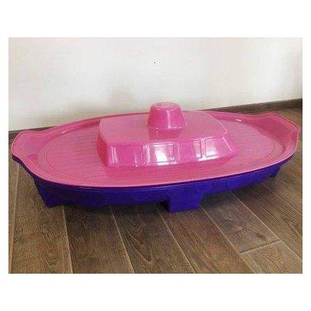 Песочница для девочки с крышкой - бассейн Корабль 03355 фиолетово-розовая