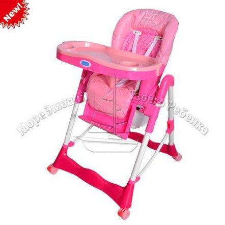 Стульчик для кормления малиново-розовый с корзиной, на колесах RT-002-8-2