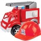 Машина пластиковая Пожарная 3978 с каской пожарника Технок