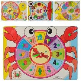 Деревянная игрушка Часы  Краб, улитка, рыбка рамка-вкладыш 00516