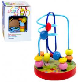 Лабиринт деревянный игрушка на проволочке 0060 в коробке