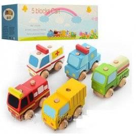 Деревянная игрушка машинка конструктор 5 видов 00760