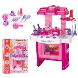 Кухня  игрушечная детская электронная с духовкой розовая 008-26