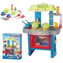 Кухня  игрушечная детская электронная 008-26 А голубая