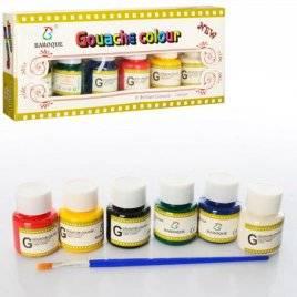 Краски гуашь 6 цветов баночки с крышкой Z0085