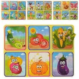 Деревянные Пазлы 4 вида овощи/фрукты/животные M00953
