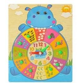 Уценка! Деревянная игрушка Рамка часы-вкладыши Бегемотик THS-016
