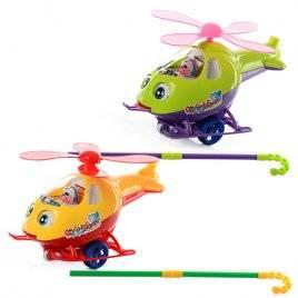 Каталка с ручкой вертолет на палочке 0302