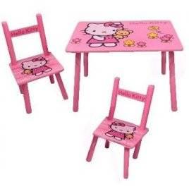 Детский розовый столик и два стульчика «Hello Kitty» деревянный 0293