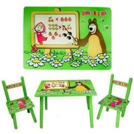Детский стол и два стульчика Маша и медведь 0295