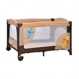 Манеж A 03-6 детский 2 колеса с тормозом, боковым карманом, змейкой в сумке кремово-коричневый