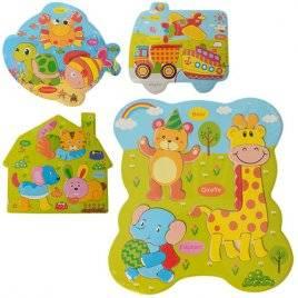Рамка-вкладыш пазлы деревянные фигурные Животные и транспорт 03116