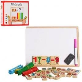 Досточка деревянная со счетными палочками, буквами и маркером 03121