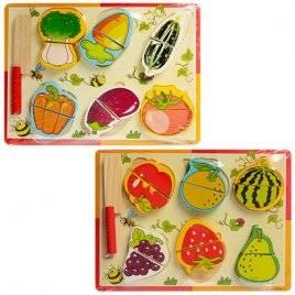 """Рамка-вкладыш объемная из дерева на липучках """"Овощи и фрукты"""" A03144"""