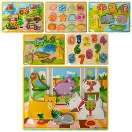 Деревянная игрушка рамка  вкладыш объемная Транспорт, животные или цифры 03156