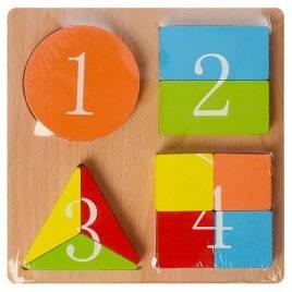 Геометрика дроби деревянная 4 объемные фигуры 03246