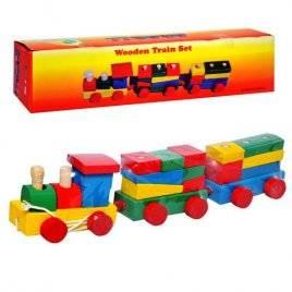 Паровозик конструктор каталка деревянный с 2-мя вагонами 0329