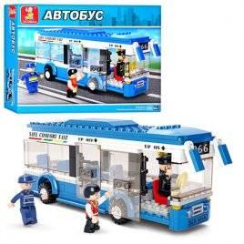 Конструктор машина Автобус синий с фигурками людей M38-B0330
