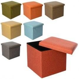 Пуф для игрушек рогожка большой квадратный Стильный 0338-2