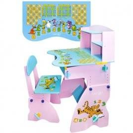 """Парта трансформер растишка """"Тигренок"""" с полочками W 035 Bambi розово-голубая"""