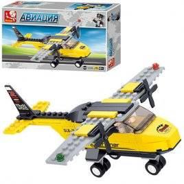Конструктор авиация Самолет желтый 11 деталей M38-B0360