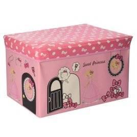 Пуф для игрушек Ящик-коробка Розовый или красный для девочек MR 0363