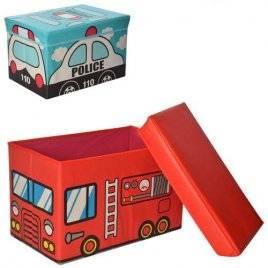 Пуф для игрушек Ящик-коробка Полиция или Пожарная машина MR 0363