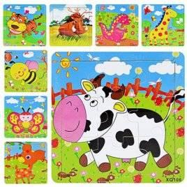 Пазлы деревянные малые толстые рамка-вкладыши Животные MD 0407