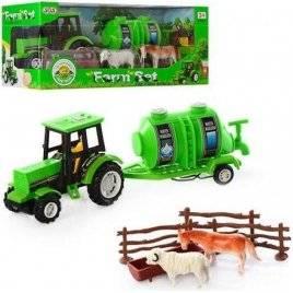 Трактор с прицеп, цистерной + животные 0442 в коробке
