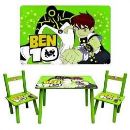Детский стол и стульчики зеленые деревянные Ben 10 0489