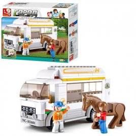 Конструктор машинка Автобус для перевоза лошадей  SLUBAN M38-B0559