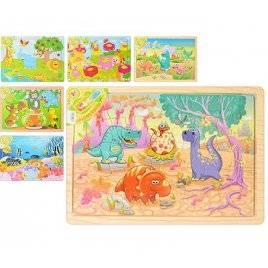 Пазлы деревянные Рыбки, Животные или Динозавры 6 видов MD 0643