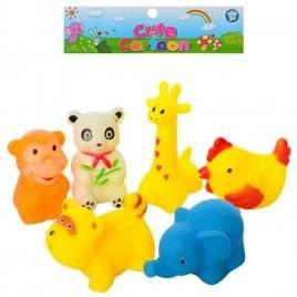 Пищалки игрушки для купания Животные 6 штук 065