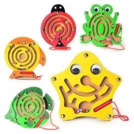Деревянная игрушка  лабиринт с металлическими шариками и магнитной палочкой 0668