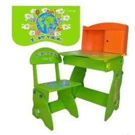 Парта растишка W 075 с шкафчиком и откидной столешницей Bambi оранжево-зеленая