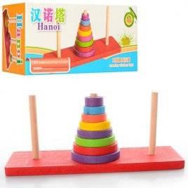 Пирамидка деревянная с 3-мя стержнями 00755