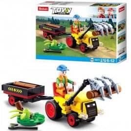 Конструктор трактор с прицепом+фигурка 110 деталей M38-B0777 SLUBAN