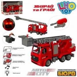 Конструктор на шурупах собирайка Пожарная машина инерционная со светом и звуком KB 077 LimoToy