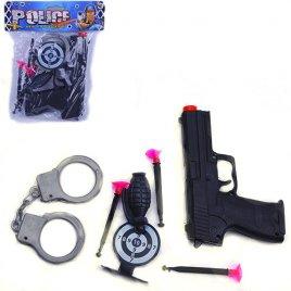 Набор полицейского Пистолет с присосками и наручниками 0916-6