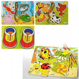 Деревянная Шнуровка детская Животные, насекомые и кеды MD0923