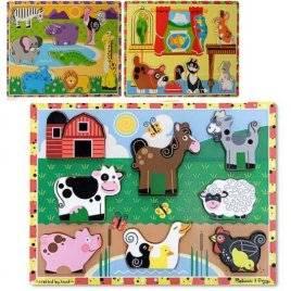 Деревянная игрушка рамка-вкладыш Животные MD 0932 большая