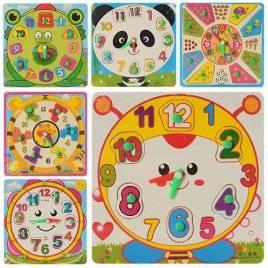 Деревянная игрушка Часы квадратные MD 0959