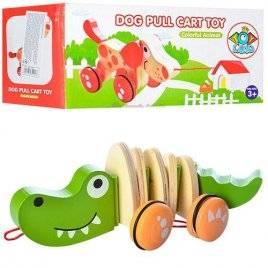 Каталка деревянная большая Собака или крокодил 0988
