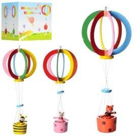 """Деревянная игрушка подвеска """"На воздушном шаре"""" MD 0989"""