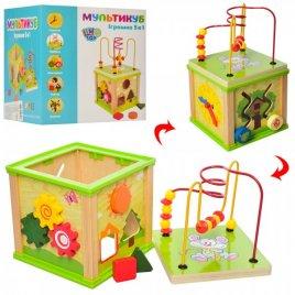 Лабиринт деревянный игрушка на проволоке и сортер Мультикуб MD 0995