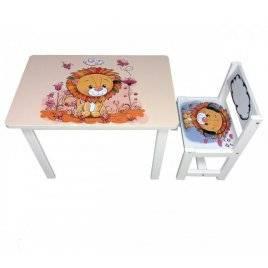 Детский стол и стул для творчества Львенок BSM1-03 lion