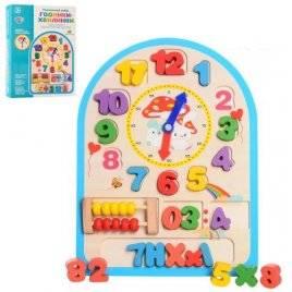 Деревянная игрушка Часы-сортер + счеты 1050
